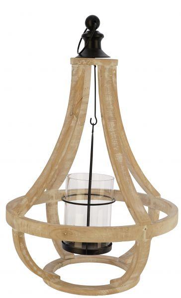 LAMPADARIO  IN LEGNO GRANDE CON PORTA CAND.IN VETRO 35X35X52