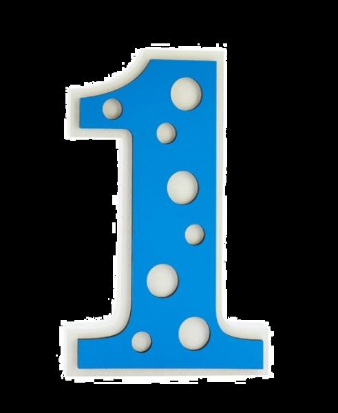 BIANCO BLU POIS NUMERO 1 H CM.25