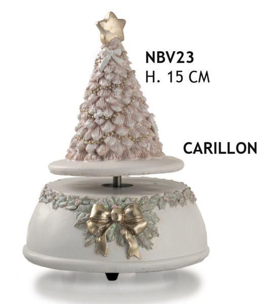 CARILLON ALBERO ROSA GLITTER H CM 15